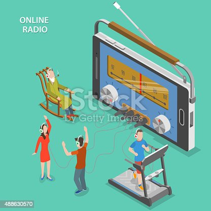 Online radio isometric flat vector concept. People listen online radio while having a rest, dancing, going in for sport.