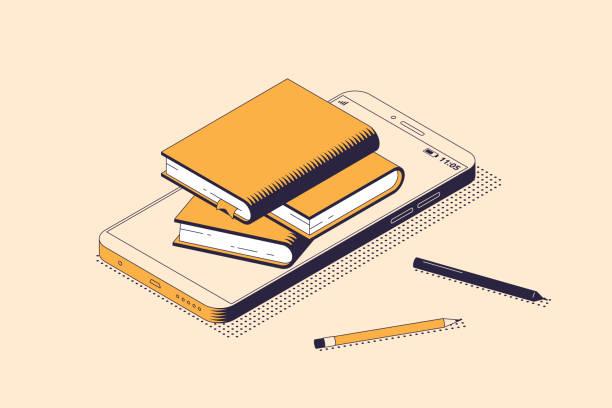 등각 투영 격리 벡터 그림의 온라인 읽기 및 교육 개념. - 서점 stock illustrations