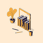 Online reading and education isometric vector illustration - stack of books standing inside of digital tablet with house flower, pencils and cup of coffee. Electronic library or e-book concept .