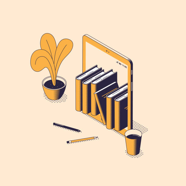 Online reading and education isometric vector illustration. Online reading and education isometric vector illustration - stack of books standing inside of digital tablet with house flower, pencils and cup of coffee. Electronic library or e-book concept . reading stock illustrations