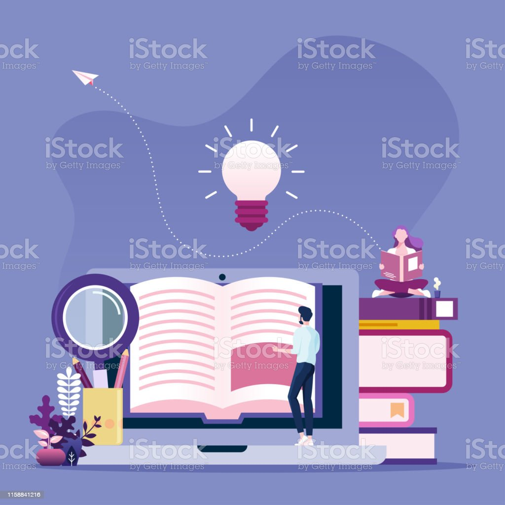 Online reading concept. Businessman reading book online