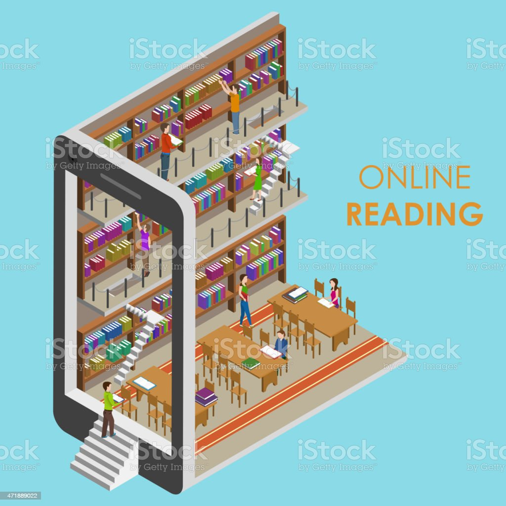 Online Reading Conceptual Isometric Illustration. vector art illustration