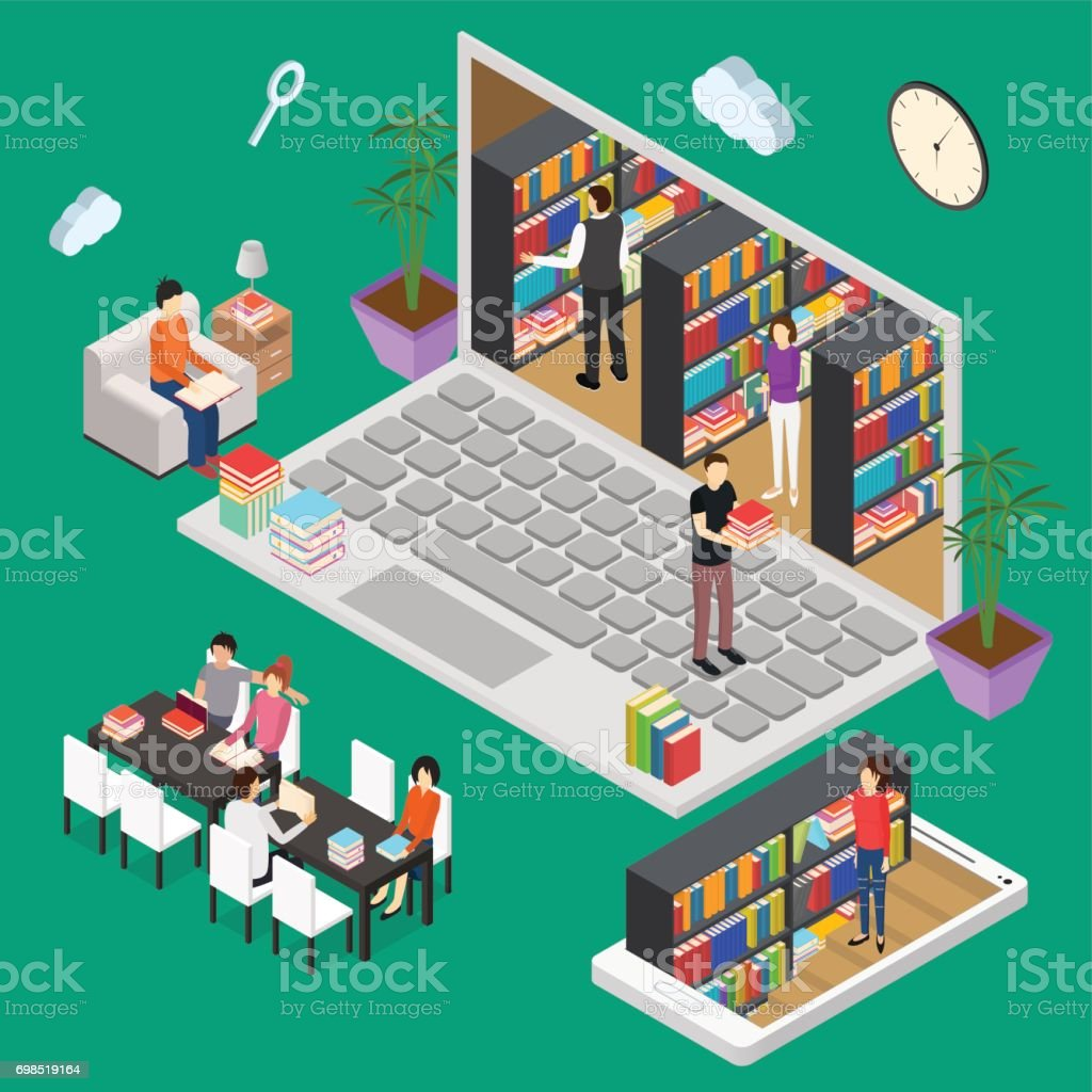 Online Reading Isometric View. Vector vector art illustration