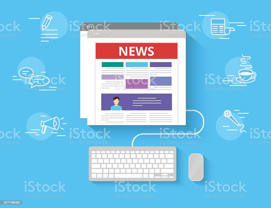 Online reading news vector art illustration