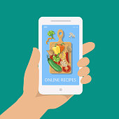 Online recipe vector on mobile phone in flat style