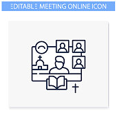 Online religious service line icon. Meeting together concept. Internet streaming website. Live, social distanced sermon. Remote public liturgy, community. Isolated vector illustration. Editable stroke