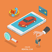 Online rental car service vector concept.