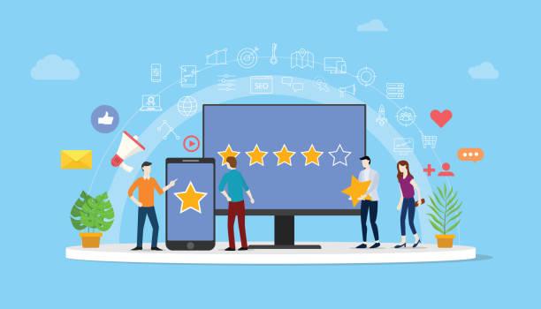online-reputation-management-team arbeitet zusammen für kundenbewertung rating star mit menschen zusammenarbeiten, um zu verwalten - vector - feedback stock-grafiken, -clipart, -cartoons und -symbole