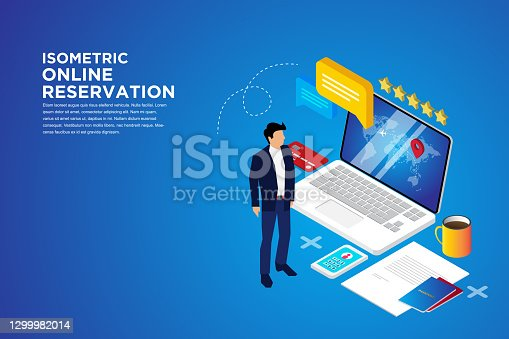 Online reservation, Booking hotel online concept. Can use for web banner, Flat isometric vector illustration isolated on background.