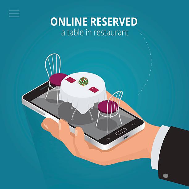 Línea reservar una mesa en el restaurante - ilustración de arte vectorial