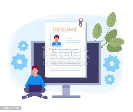 Online resume job searching concept. Vector design graphic flat cartoon illustration