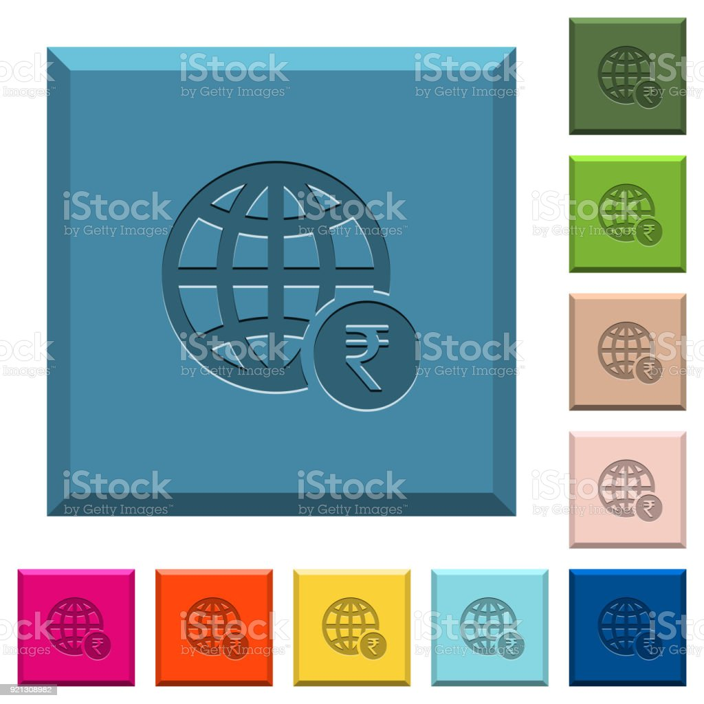 Online Rupee Payment Engraved Icons On Edged Square Buttons stock ...