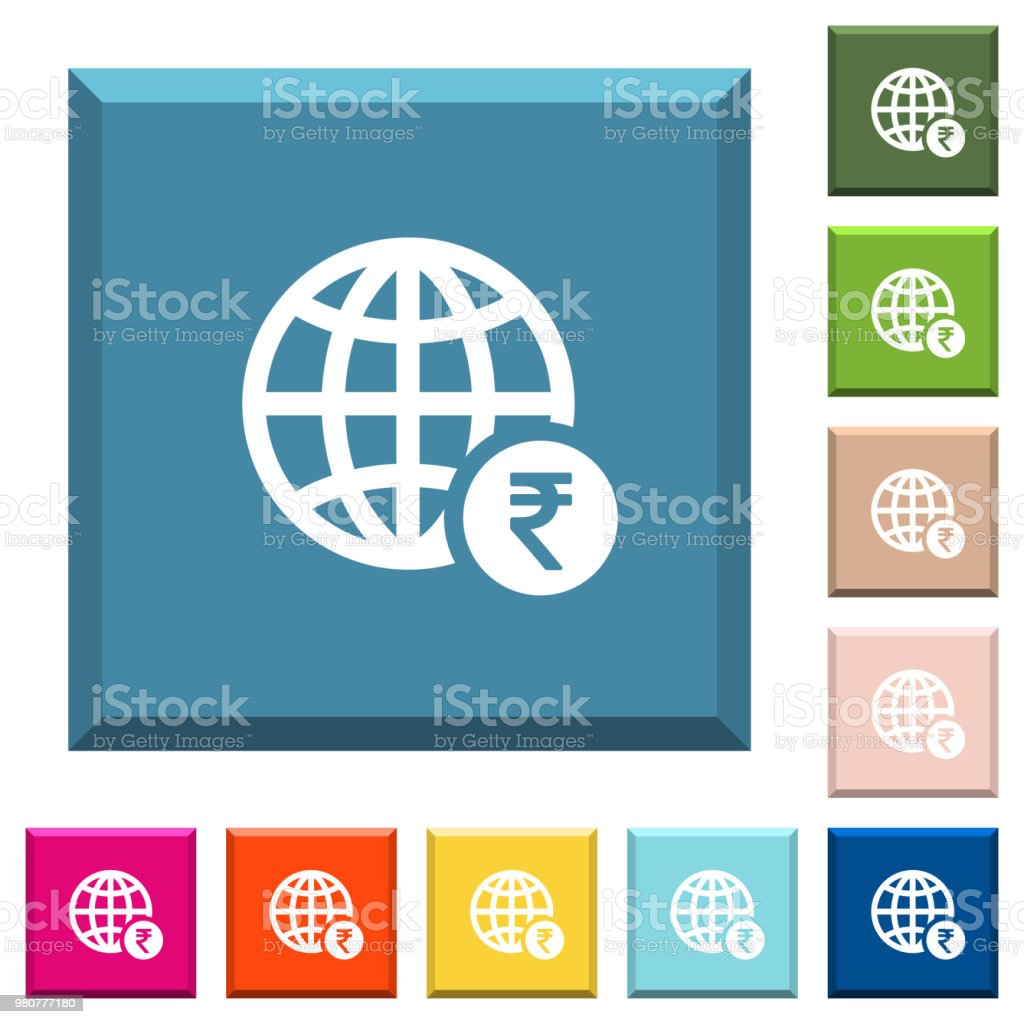 Online Rupee Payment White Icons On Edged Square Buttons Stock ...