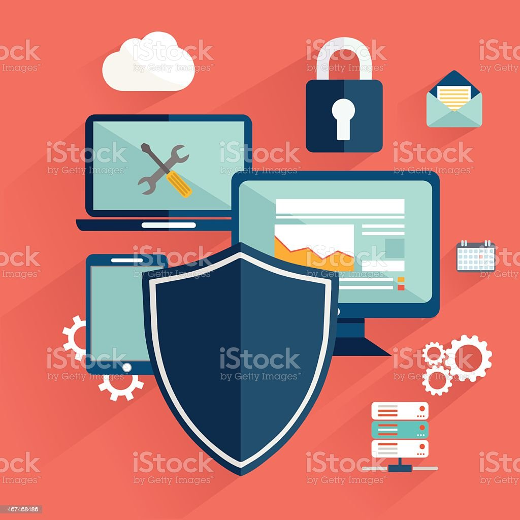 Online safety, data protection, secure connection vector art illustration