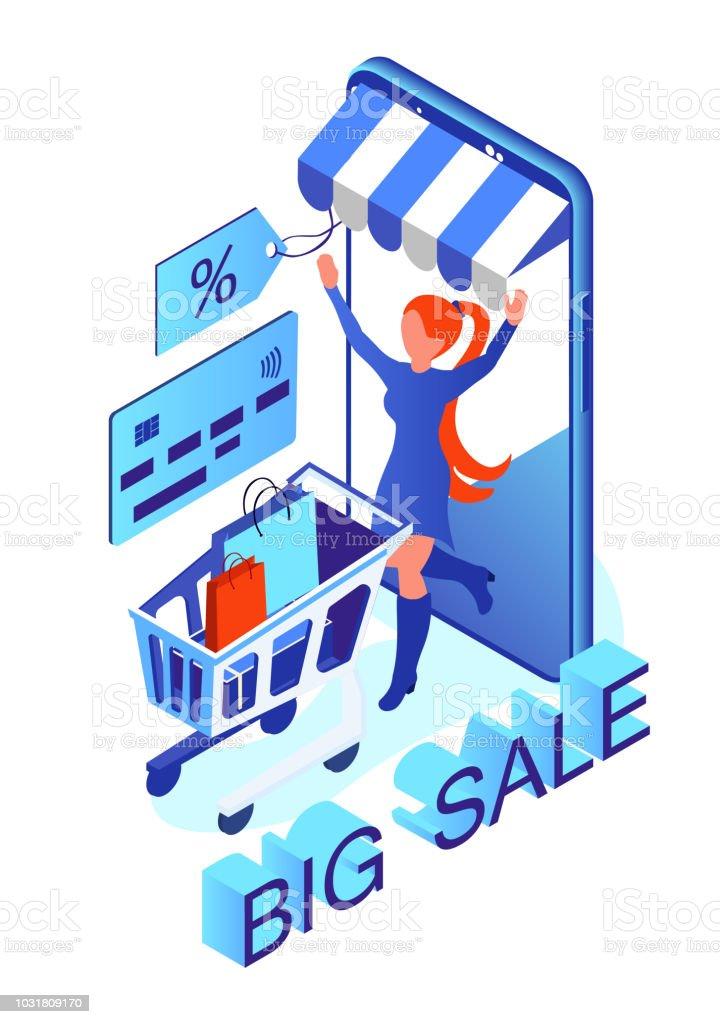 3497d0a55a venda on-line. mulher feliz com as compras. compra através de smartphone.
