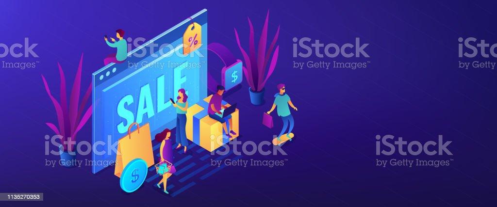 Online Sales Pro Concept Isometric 3d Banner Header Stock
