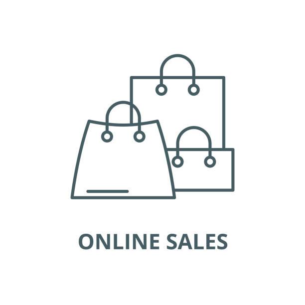 online satış vektör hattı simgesi, doğrusal kavramı, anahat işareti, sembol - sale stock illustrations