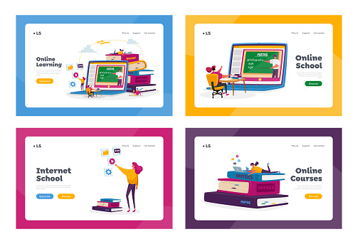 Online School Education at Home Landing Page Template Set. Tiny Student Characters Distant Studying around Huge Laptop