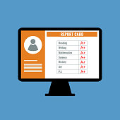online school report card with A plus grades, flat design vector illustration