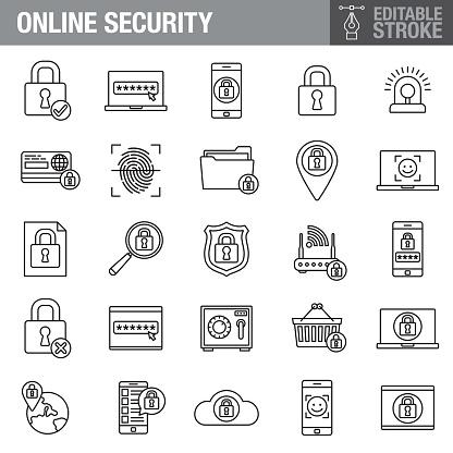 Online Security Editable Stroke Icon Set