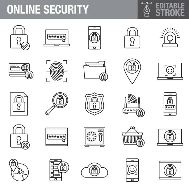 online security editable stroke icon set - facial recognition stock illustrations