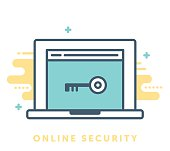 Thin line icon online browser security. Modern style vector illustration concept.