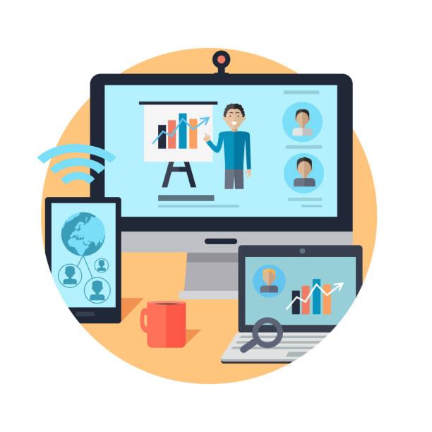 ilustraciones, imágenes clip art, dibujos animados e iconos de stock de seminario en línea. trabajo a distancia. webinar. vector - training