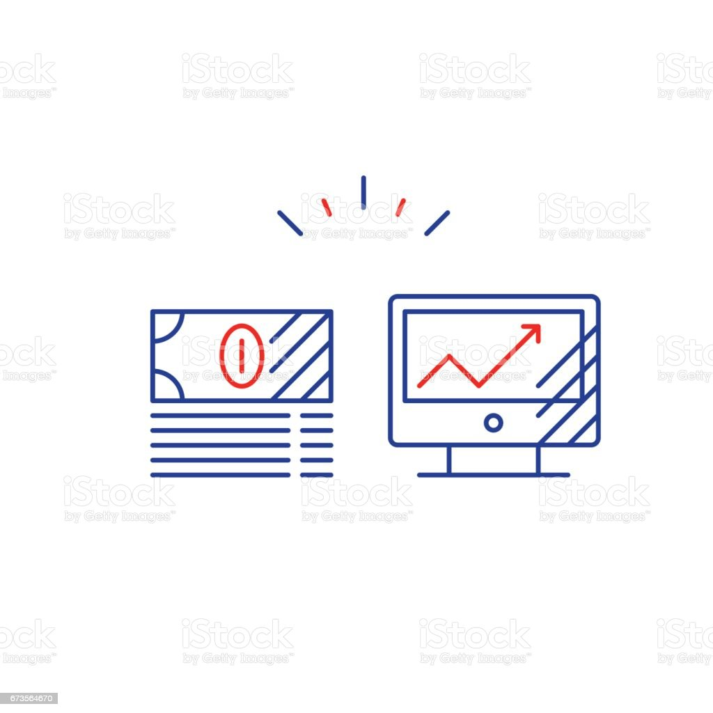 Online services, financial investment, internet busines strategy, line icon royalty-free online services financial investment internet busines strategy line icon stock vector art & more images of advice