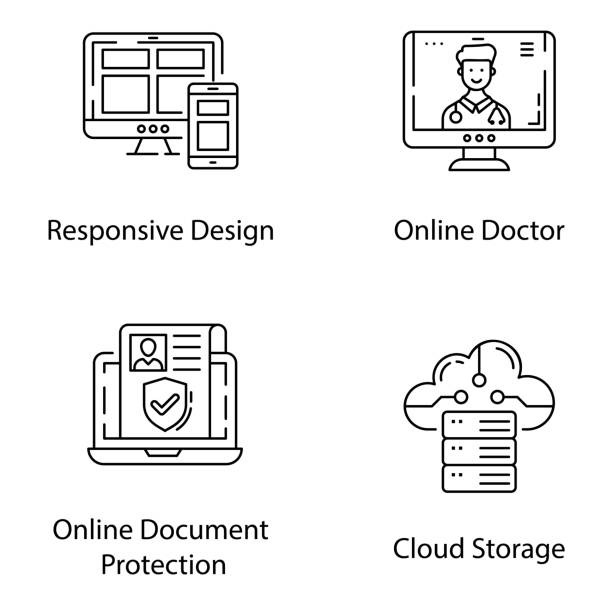 Online Services Line Vectors Pack Get your best online services line design and  interface line vectors to make your project more reliable and enhance usability between computer and user. Don't waste your time grab and use now! medico stock illustrations