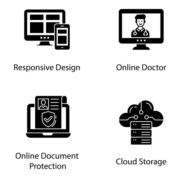 Online Services Solid Vectors Pack Get your best online services solid design and  interface solid vectors to make your project more reliable and enhance usability between computer and user. Don't waste your time grab and use now! medico stock illustrations