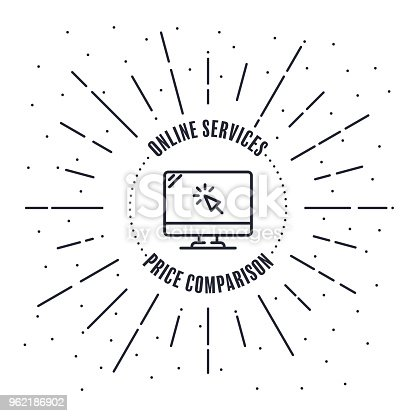Online services related retro badge style vector illustration.
