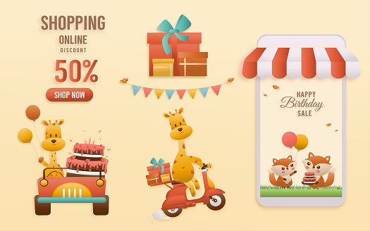 Online shop banners discount jungle animals Themes.