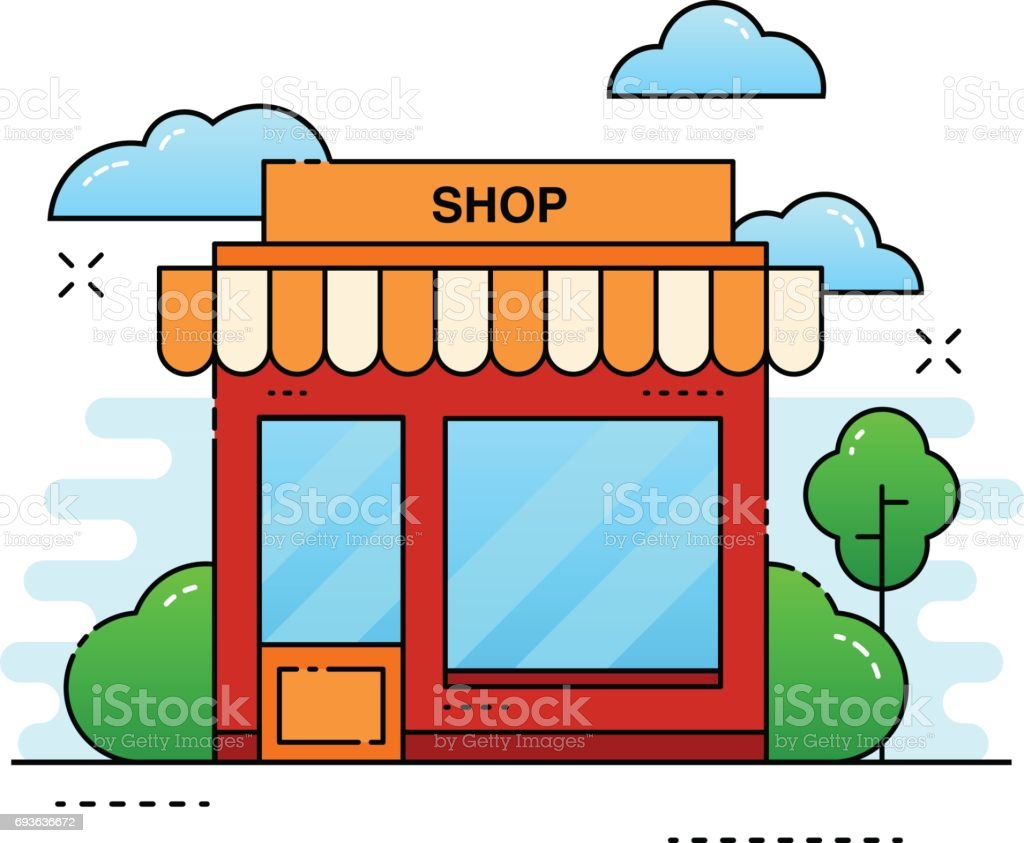 Color on online - Online Shop Building Tree And Bushes With Clouds City Store On Color Background
