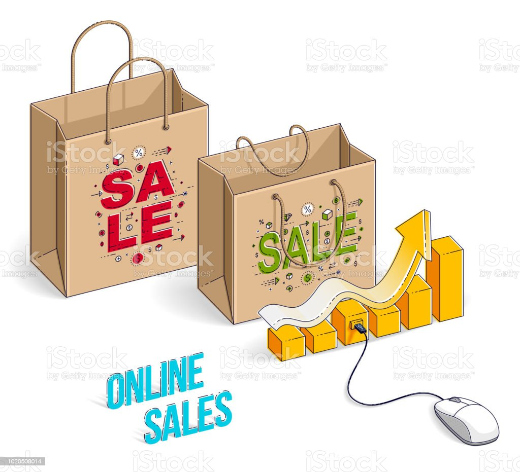 Online Shop Concept Web Store Internet Sales Shopping Bag With Pc