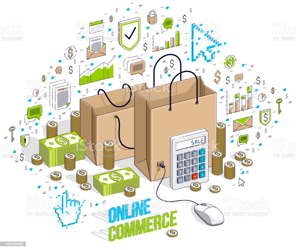 online shop concept web store internet sales shopping bag with pconline shop concept, web store, internet sales, shopping bag with pc mouse connected isolated on white isometric 3d vector finance illustration with icons,