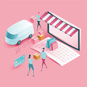 istock Online Shop Delivery and Shopping - isometric illustration 1207507455