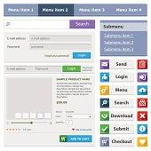 Online shop flat design elements set