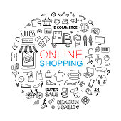 Online shop icons set. Vector illustrations for business and internet shopping. Different hand drawn symbols and elements for commerce and finance
