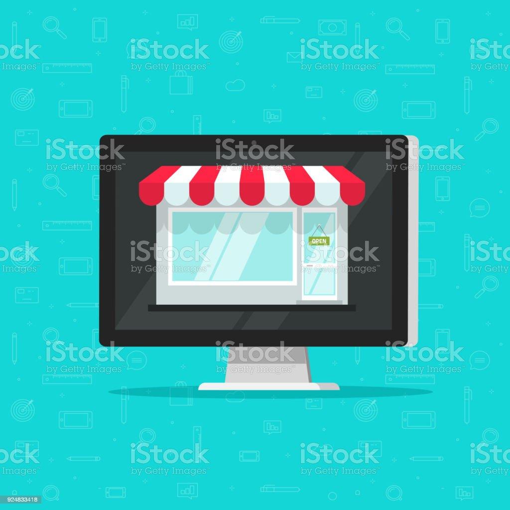 Tiendas De Ordenadores Online.Ilustracion De Tienda Online De Ordenador Vector Ilustracion