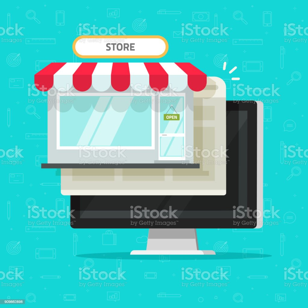 Online Shop On Computer Vector Illustration Flat Cartoon