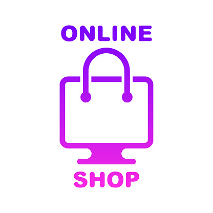 Online shop, online store logo. Logotype for business. Isolated vector illustration