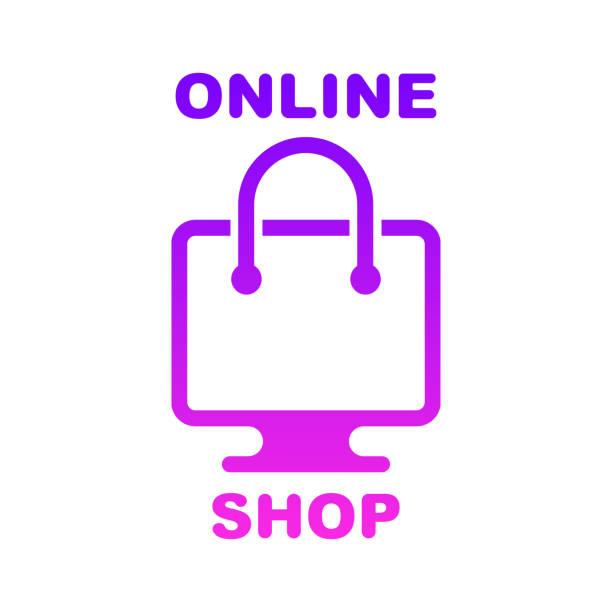 Online shop, online store logo. Logotype for business. Isolated vector illustration vector art illustration