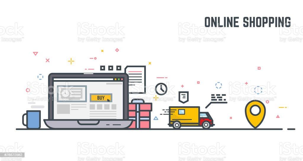 オンライン ショッピングと配信 ベクターアートイラスト