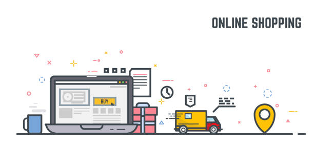 Online shoping and delivery Online shop on laptop monitor. Buying things in online store, with gift and present, and fast delivery. E-commerce illustration. Linear modern, trendy vector banner. bonus march stock illustrations