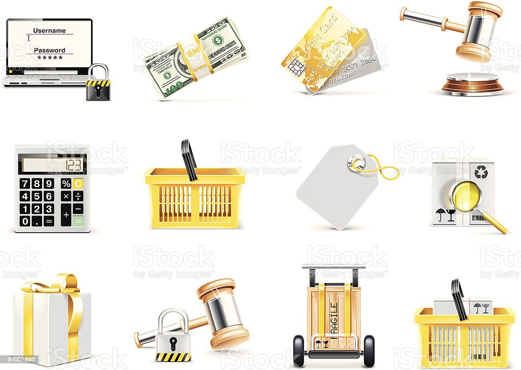On-line shopping and auction icon set royalty-free stock vector art