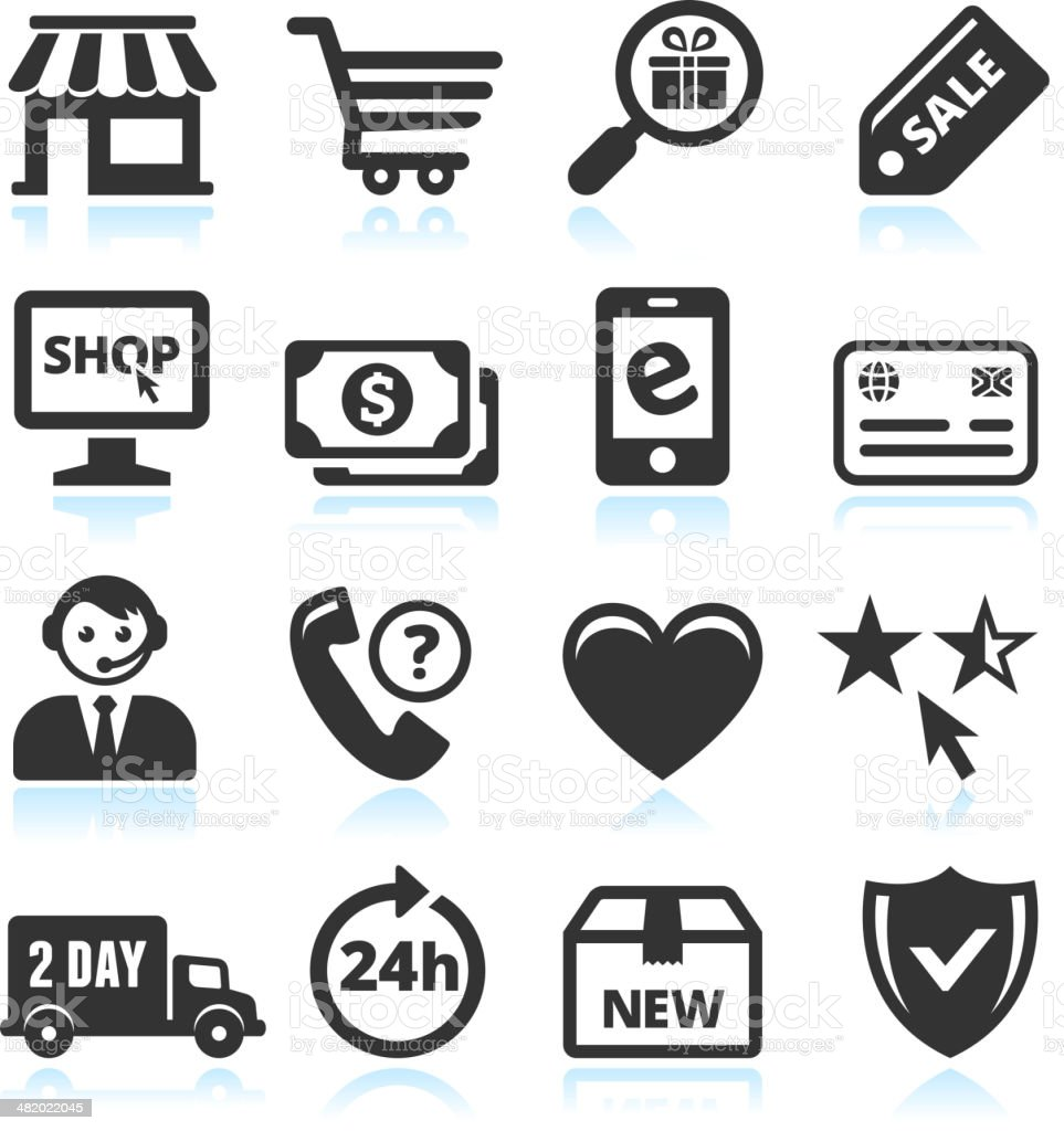 Online Shopping and Commerce black & white vector icon set royalty-free online shopping and commerce black white vector icon set stock vector art & more images of 24 hrs