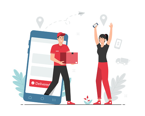 Online shopping and delivery concept. Male courier delivering parcel to female customer