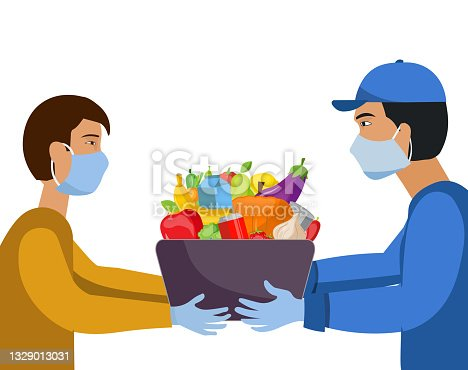 Online shopping and delivery. Delivery of products purchased online from the convenience store, grocery store, supermarket. Fruits and vegetables in the package. People wearing masks and gloves. Vector of people taking precautions for covid-19 and disease