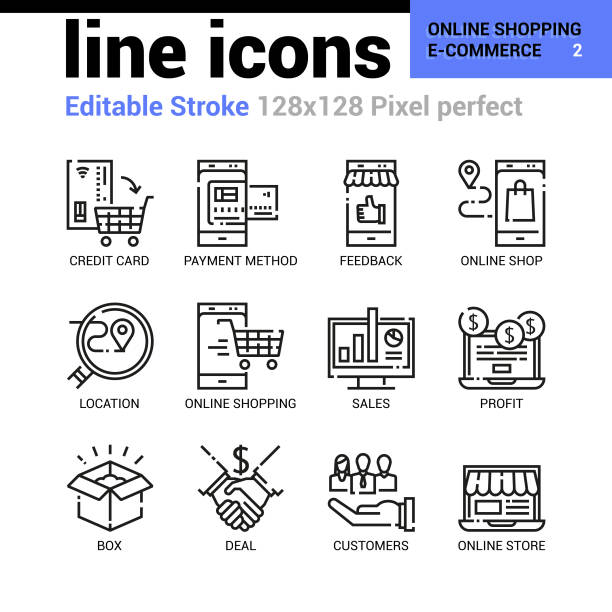 online shopping and e-commerce line icons - editable stroke, pixel perfect thin line vector icons for web design and website application. - zbiornik wytworzony przedmiot stock illustrations