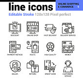 Online shopping and e-commerce line icons - Editable Stroke, Pixel perfect thin line vector icons for web design and website application.
